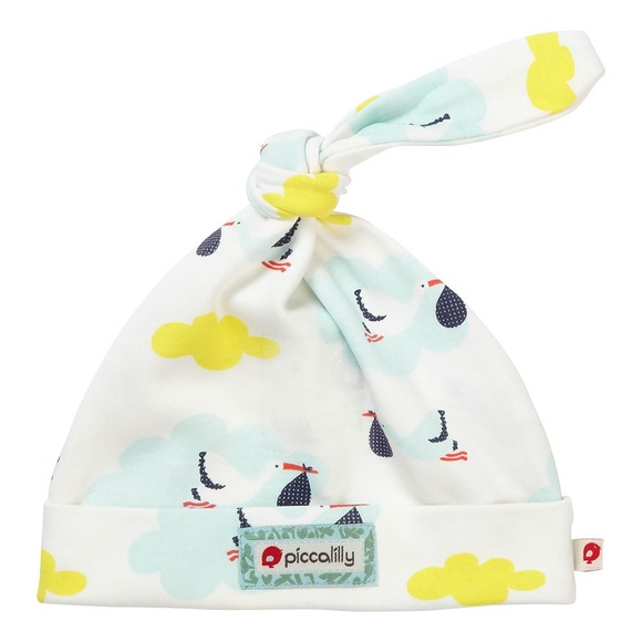 Piccalilly Organic Cotton Multicoloured Baby Boys Little Fish Print Single Knot Hat